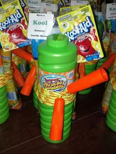 End of school year gift. Large bubbles, jump rope, bag of freezer pops on the back and a pack of lemonade kool-aid.