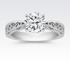 Vintage Solitaire 14k White Gold Engagement Ring with Brilliant Round Diamond from Shane Co.