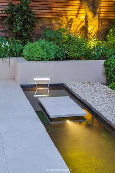 Water and light 6 Charlotte Rowe copyright Marianne Majerus Small Courtyard Gardens, Small Gardens, Notting Hill, Water Lighting, Outdoor Lighting, Garden Design, Landscape Design, Water Architecture, Modern Balcony