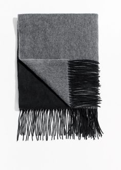 & Other Stories image 1 of Two Tone Wool Blanket Scarf in Black/ Grey