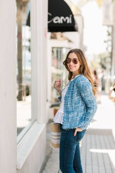 blue tweed jacket with jeans M Loves M