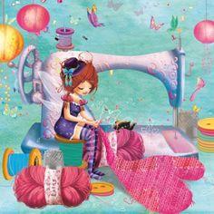 couturebleu Sewing Art, Sewing Rooms, Love Sewing, Laura Lee, Art Fantaisiste, Visiting Card Design, Vintage Fairies, Preschool Art, Cute Cartoon Wallpapers