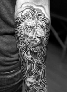 Iron Lion Male Tattoo Half Sleeve