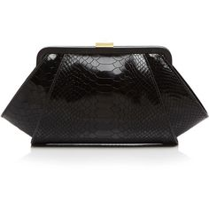 Zac Zac Posen Clutch - Posen Lacquered Python-Embossed ($310) ❤ liked on Polyvore featuring bags, handbags, clutches, embossed purse, snake print purse, zac zac posen handbags, snake skin handbags and python purse