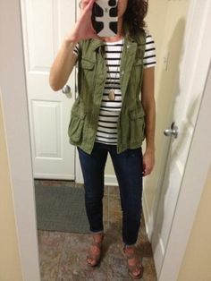 Saw a green sleeveless vest at nordstrom rack.. & you can buy a striped shirt almost anywhere. jeans. flats. good to go.