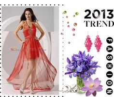 """""""Halter Embroidery Taffeta and Organza High-low 2013 Prom Dress"""" by prettydressesforyou ❤ liked on Polyvore"""