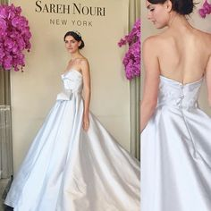 The final look at @sarehnouri is THE showstopper to give you that #cinderellamoment! Silk wool in soft blue featuring @swarovski crystal buttons make this a magical statement gown. Love! #nybfw #nybfw2015 #BridalMarket #bridalfashionweek #sapphireevents