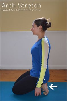 Arch Stretch for Runners, great for plantar fasciitis!  #runners #yoga #stretch