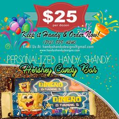 🍫🍫 Personalized Handy Shandy 🍭 Hershey Candy Bar 🍬 🍫🍫 $25 per dozen! Any questions, cares, or concerns please feel free to contact us via email/phone/text: handyshandydesigns@gmail.com or (713) 878-4240. Keep it Handy 🖐️🖐️ and Order now!!  🖐️🖐️ 🍫🍫 #HandyCandy #SweetTreat 🍫