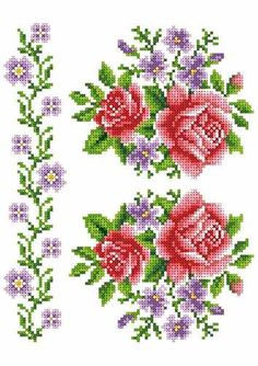 Rose Bouquet, Cross Stitch Designs, Embroidery, Cross Stitch Embroidery, Crochet Ornaments, Roses, Dots, Dressmaking, Manualidades