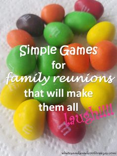 Have a family get together and looking for a way to bring everyone together? Looking for some simple games for family reunions? Check out these simple games for family reunions that will make them all laugh! Family Games To Play, Family Party Games, Family Game Night, Group Games, Games To Play With Kids, Dinner Party Games, Family Reunion Activities, Family Reunions, Youth Activities