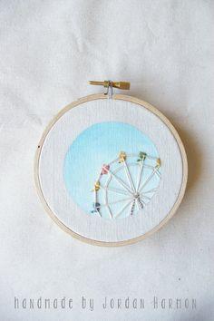 Ferris Wheel embroidery art, hoop art, kids room, nursery artwork, hand embroidered, minimal, simple, santa cruz beach summer