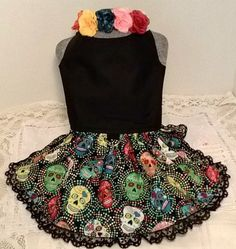 This size small handmade Dia De Los Muertos or Day of the Dead Costume dress will look adorable on your little pet, be it for Halloween or any