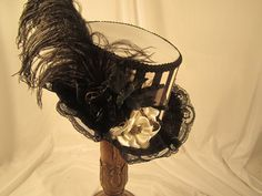 STEAMPUNK ladies felt  RIDING HAT white with black by EmilyWayHats, $79.00