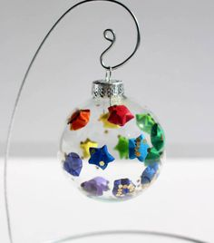 Rainbow Origami Lucky Star Glass Bulb Ornament Gold Glitter Holiday Wishing Christmas Tree Decoration Paper Decor
