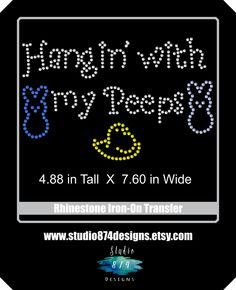 Easter Bling Rhinestone Iron-On Transfer Applique Shirt - Hangin with my Peeps - T-Shirt DIY - pinned by pin4etsy.com