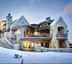 Upwall Design Architects is a full service architectural firm founded by Michael Upwall and is based in Salt Lake City, Utah. Dream Mansion, Modern Rustic Homes, Luxury Homes Dream Houses, Mansions Homes, Dream House Exterior, Stone Houses, Dream Home Design, Architect Design, Maine House