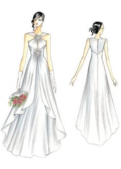 Fashion Figure Drawing, Fashion Drawing Dresses, Weird Fashion, Fashion Art, Wedding Dress Sewing Patterns, Crystal Wedding Dresses, Types Of Gowns, Gown Pattern, Dress Sketches