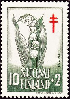 Lily of the Valley, (Convallaria majalis) –Finland, national flower. Post stamp of Finland, c. Flower Stamp, My Flower, Finnish Tattoo, Rhyme And Reason, The Beautiful Country, Lily Of The Valley, Red Cross, Mail Art, Postage Stamps