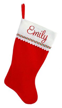 c9f91ee8e92 Personalized Christmas Stocking - Red and White Felt - CP129WM99YB