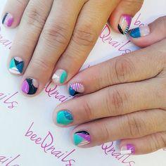Colourful Geometrical Combination for Chan Yoke Wah 😎 #beeqnailsss2 #beeqnailschanyokewah