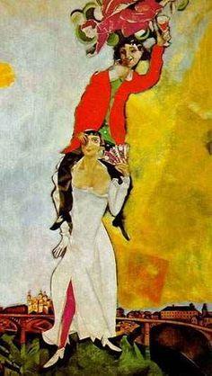 마르크 샤갈,<술잔을 들고 있는 이중 초상>  신랑이 신부 위에서 술잔을 높이 들고 있다.  샤갈의 <산책>과 마찬가지로 매우 특이한 자세를 취하고 있는 그림이다.  그림속의 두 남녀는 하늘로 날아갈 만큼 행복해 보인다.