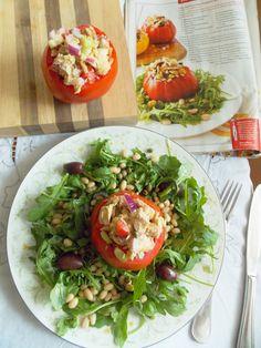 food and thrift-Tuna Salad Stuffed Tomatoes with Arugula