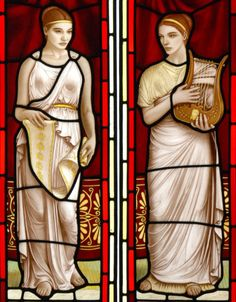 "Detail, ""Music and Literature"", painted & fired stained glass by Brian Waugh, Glasgow, UK"