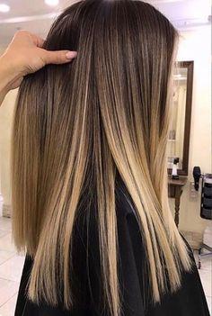 Subtle blonde ombré on straight hair