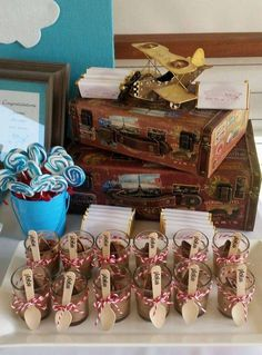Vintage plane baby shower  party chocolate mousse! See more party planning ideas at CatchMyParty.com!