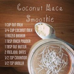 THIS IS DELICIOUS Maca Powder. Energising and revitalising, Maca is the Superfood of the Incas where it is revered for its hormone balancing qualities! Apple Smoothies, Breakfast Smoothies, Healthy Smoothies, Healthy Drinks, Green Smoothies, Healthy Juices, Healthy Desserts, Yummy Drinks, Juice Smoothie