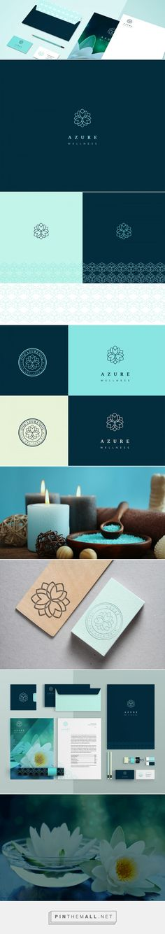 Azure Wellness Spa and Yoga Studio Logo and Branding by Anuja Kanani | Fivestar Branding Agency – Design and Branding Agency & Curated Inspiration Gallery  #branding #brand #logo #logodesign #logomark #design #designinspiration #brandinginspiration
