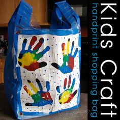Make a handprint shopping bag using a reuseable bag and @Plaid Crafts paint - from 100directions.com