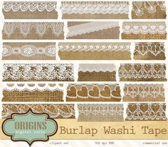 Burlap and Lace Digital Washi Tape - Objects - 1