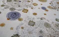 'Mandala' print in multiple colors on natural organic hemp by valentine http://vvfabrics.com/bonjour%21.html