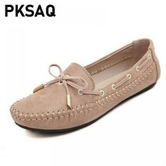 d98aa4414c1 Sweet Bowtie Women Loafers Spring Autumn Women s Flats Boat Shoes Slip-On  Breathable Ladies Casual Footwear Moccasins Large Size.
