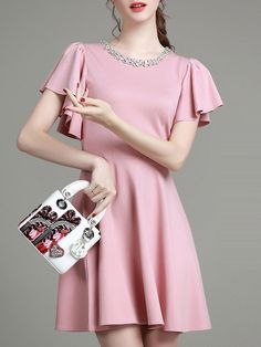 Pink Ruffle Sleeve Beading A-Line Dress -SheIn(Sheinside)