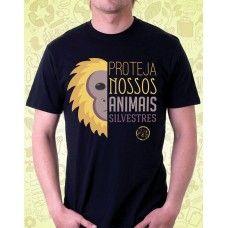 Camisa AMA TERRA Preta Proteja Nossos Animais Silvestres - ATA062