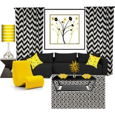 """""""Yellow and Black Living Room"""" by truthjc on Polyvore"""