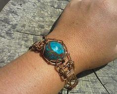 Peruvian opal wire wrapped bracelet in copper, handmade peruvian opal unisex bracelet in copper wire, peru opal jewelry mens copper bracelet