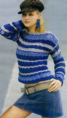 Striped Pullover free crochet graph pattern