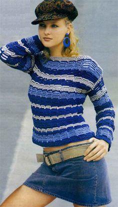 Striped Pullover free crochet graph pattern ༺✿ƬⱤღ✿༻