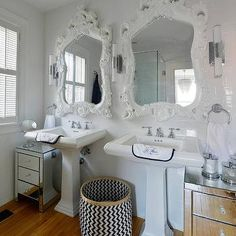Glam Bathroom with White Rococo Mirrors