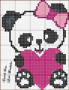 Panda holding pink heart with pink bow Pixel Crochet Blanket Crochet Crochet Chart Crochet Baby Arte Pixel Bobble Stitch Pearler Bead Patterns Cross Stitch Baby Cross Stitch Patterns Pixel Crochet Blanket, Graph Crochet, Tapestry Crochet, Crochet Baby, Baby Cross Stitch Patterns, Cross Stitch Baby, Cross Stitch Charts, Cross Stitching, Cross Stitch Embroidery