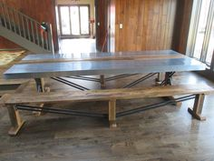 Zinc Top Table with matching bench