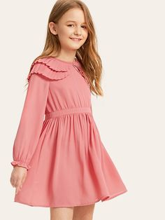 To find out about the Girls Layered Pleated Ruffle Detail Dress at SHEIN, part of our latest Girls Dresses ready to shop online today! Girls Fashion Clothes, Kids Fashion, Fashion Dresses, Little Girl Dresses, Girls Dresses, Tee Dress, Peter Pan Collar Dress, Baby Dress, Dress Girl