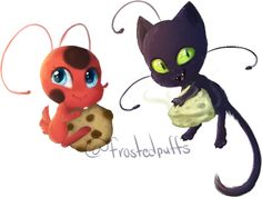 Tikki and Plagg by frostedpuffs