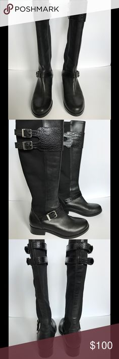 Cole Haan boots Beautiful Cole Haan boots in black leather and black stretch fabric. This pair of boots were gently worn and comes with a box. Cole Haan Shoes Heeled Boots