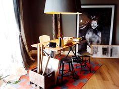 """""""Estudio de Fotógrafo"""", el espacio de Milagros del Castillo en Estilo Pilar 2016 con una alfombra """"greca"""" de Elementos Argentinos tejida a mano en telar en pura lana de oveja 100% natural."""