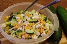 Rezept: Gurken-Melonen-Feta-Salat Bild Nr. 6150 Mole, Cobb Salad, Potato Salad, Low Carb, Potatoes, Cooking, Ethnic Recipes, Grob, Puffer